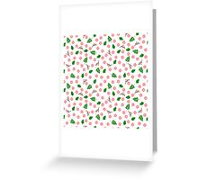 Pink flowers green leaves and branches spring design Greeting Card