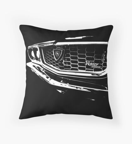 """Three"" – Mazda RX3 Rotary T-Shirt Throw Pillow"