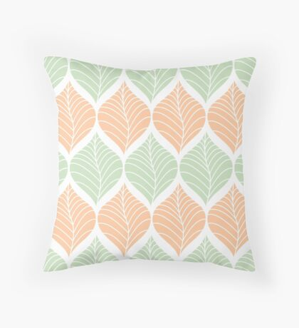 Seamless leaves pattern Throw Pillow