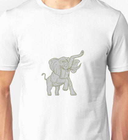 African Elephant Prancing Mono Line Unisex T-Shirt