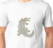 Alligator Climbing Up Mono Line Unisex T-Shirt