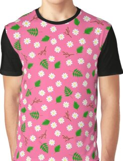 White flowers green leaves and branches spring design Graphic T-Shirt