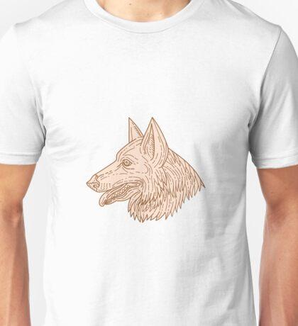 German Shepherd Dog Head Mono Line Unisex T-Shirt