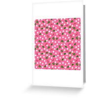 White flowers green leaves and branches spring design Greeting Card