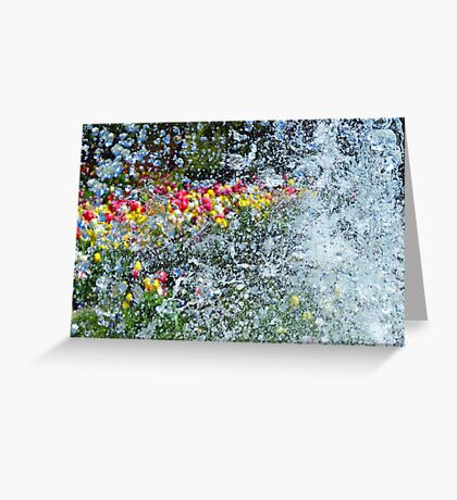 Spring Tulips through Water Fountain Droplets Greeting Card
