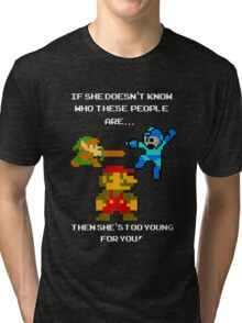 If she don't know her... Nintendo! Tri-blend T-Shirt