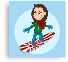 Snowboarding girl cartoon Canvas Print