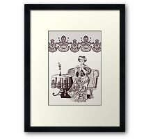 lady drinks tea Framed Print