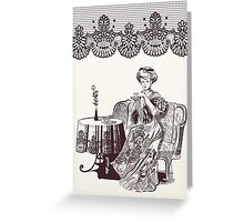 lady drinks tea Greeting Card