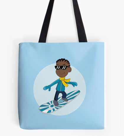 Snowboarding boy cartoon Tote Bag