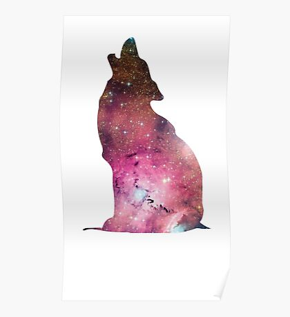 Wolf howling into space Poster
