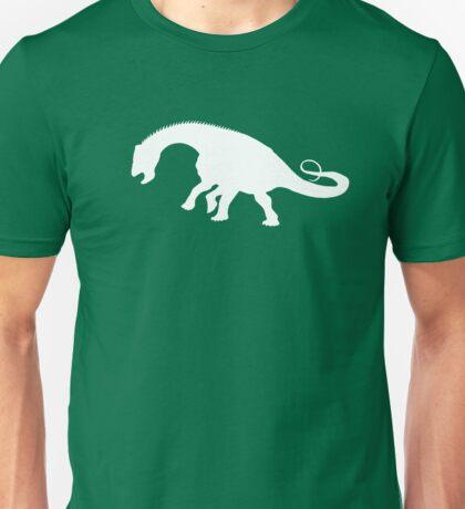 Nigersaurus Dinosaur Silhouette (White) Unisex T-Shirt