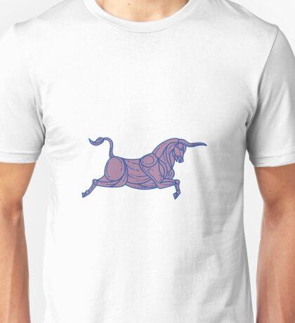 Texas Longhorn Bull Charging Mono Line Unisex T-Shirt