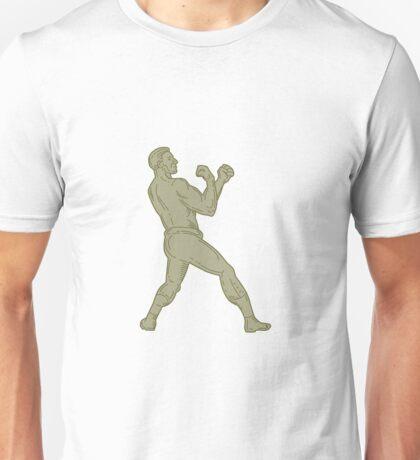 Vintage Boxer Fighting Stance Mono Line Unisex T-Shirt