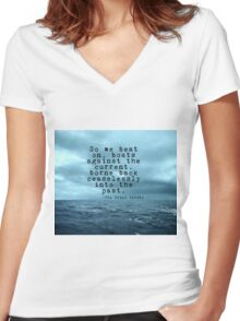 So we beat on - Gatsby quote on the dark ocean Women's Fitted V-Neck T-Shirt