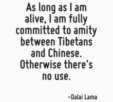 As long as I am alive, I am fully committed to amity between Tibetans and Chinese. Otherwise there's no use. by Quotr