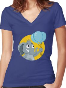 Cute cartoon elephant Women's Fitted V-Neck T-Shirt
