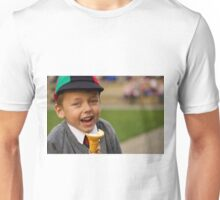 Close-up of laughing uniformed schoolboy eating ice-cream Unisex T-Shirt