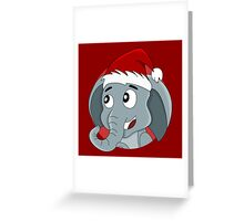 Cute Christmas elephant cartoon Greeting Card