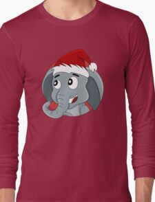 Cute Christmas elephant cartoon Long Sleeve T-Shirt