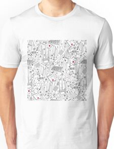 A pattern of tools for creativity.  Unisex T-Shirt