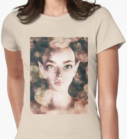 Fairy portrait with bokeh Womens Fitted T-Shirt