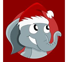 Cute Christmas elephant cartoon Photographic Print