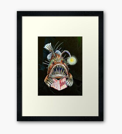 Angler Fish Reads Jaws Framed Print