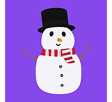 Happy Snowman with winterscarf Photographic Print