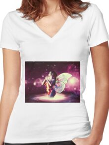 Space fairy Women's Fitted V-Neck T-Shirt