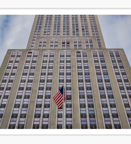 American Flag In Front Of The Empire State Building | New York City, New York Sticker