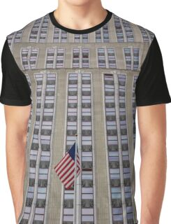 American Flag In Front Of The Empire State Building | New York City, New York Graphic T-Shirt