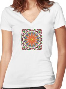 Oil and Water Kaleidoscope  Women's Fitted V-Neck T-Shirt