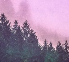 Fog Forest - Pink and Green Misty Mountain Pass Sticker