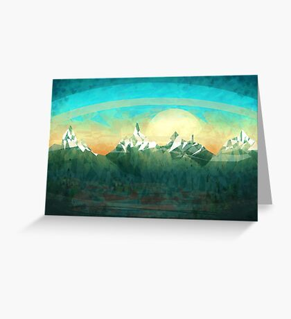 Mountains over the sky - minimalist digital painting Greeting Card