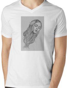 Patience digital illustration of a young girl Mens V-Neck T-Shirt