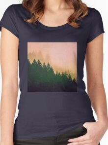 Fog Forest - Cascadia Green Trees and Sunset Women's Fitted Scoop T-Shirt