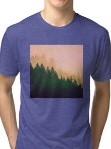 Fog Forest - Cascadia Green Trees and Sunset Tri-blend T-Shirt