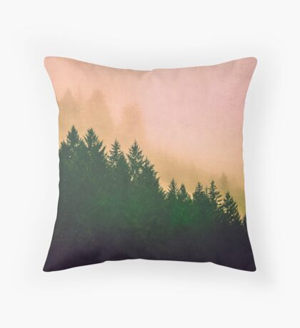 Fog Forest - Cascadia Green Trees and Sunset Throw Pillow