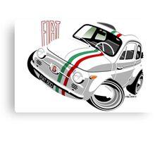 Classic Fiat 500 Nuova caricature white Canvas Print
