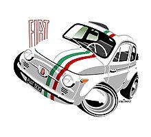 Classic Fiat 500 Nuova caricature white Photographic Print