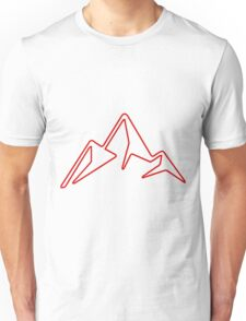 red abstract mountain logo monochrome Unisex T-Shirt