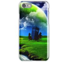 tardis in green meadow iPhone Case/Skin