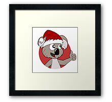 Cute Christmas koala cartoon Framed Print