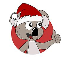 Cute Christmas koala cartoon Photographic Print