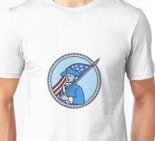American Revolutionary Soldier Flag Circle Mono Line Unisex T-Shirt