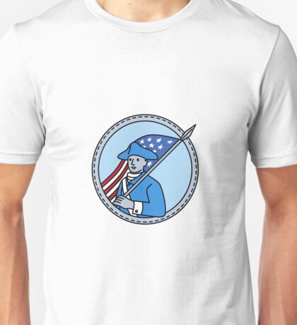 American Revolutionary Soldier Flag Circle Mono Line Unisex T-Shirt