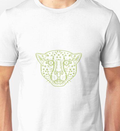 Cheetah Head Mono Line Unisex T-Shirt