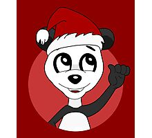 Cute Christmas panda bear cartoon Photographic Print
