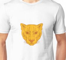 Cougar Mountain Lion Head Mono Line Unisex T-Shirt